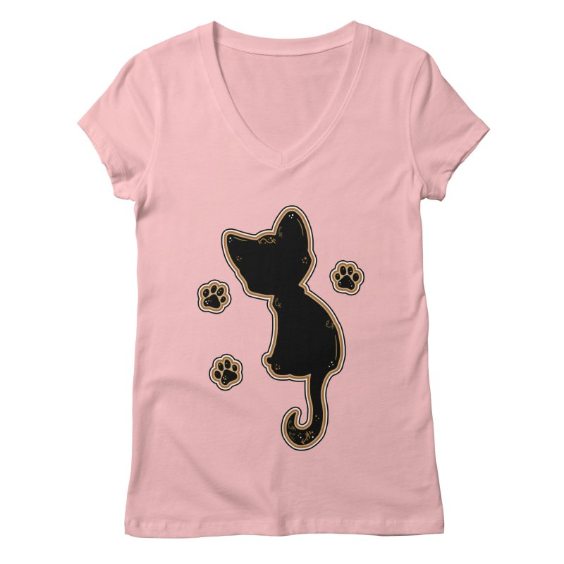 Mystical Little Kitty (Candy Corn I) Women's V-Neck by VanillaKirsty's Artist Shop