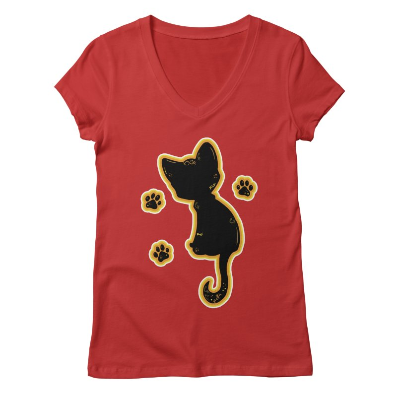 Mystical Little Kitty (Candy Corn II) Women's V-Neck by VanillaKirsty's Artist Shop