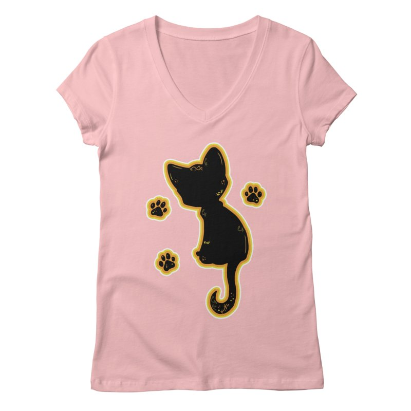 Mystical Little Kitty (Candy Corn II) Women's V-Neck by VanillaKirsty's Artist Shop