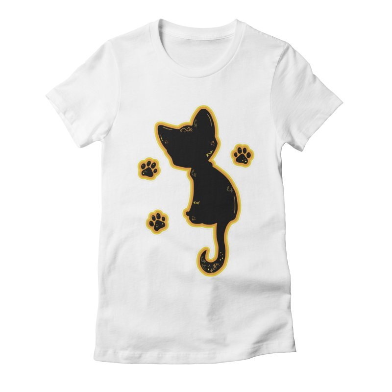 Mystical Little Kitty (Candy Corn II) Women's Fitted T-Shirt by VanillaKirsty's Artist Shop