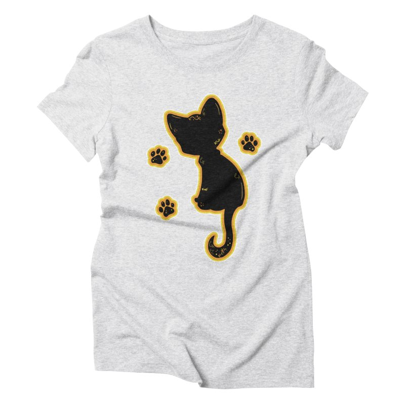 Mystical Little Kitty (Candy Corn II) Women's Triblend T-Shirt by VanillaKirsty's Artist Shop