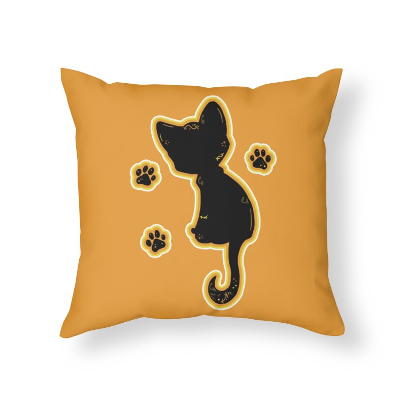 Mystical Little Kitty (Candy Corn II) Home Throw Pillow by VanillaKirsty's Artist Shop
