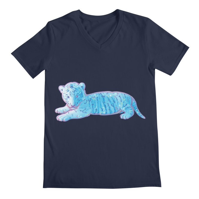 Little Blue Tiger Cub Men's V-Neck by VanillaKirsty's Artist Shop