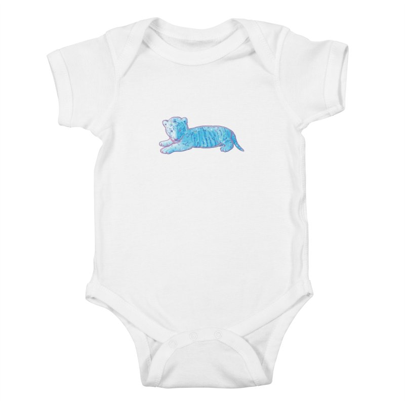 Little Blue Tiger Cub Kids Baby Bodysuit by VanillaKirsty's Artist Shop