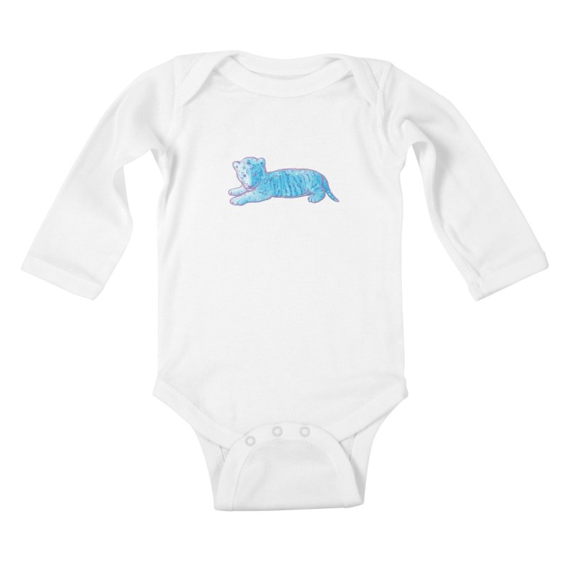 Little Blue Tiger Cub Kids Baby Longsleeve Bodysuit by VanillaKirsty's Artist Shop