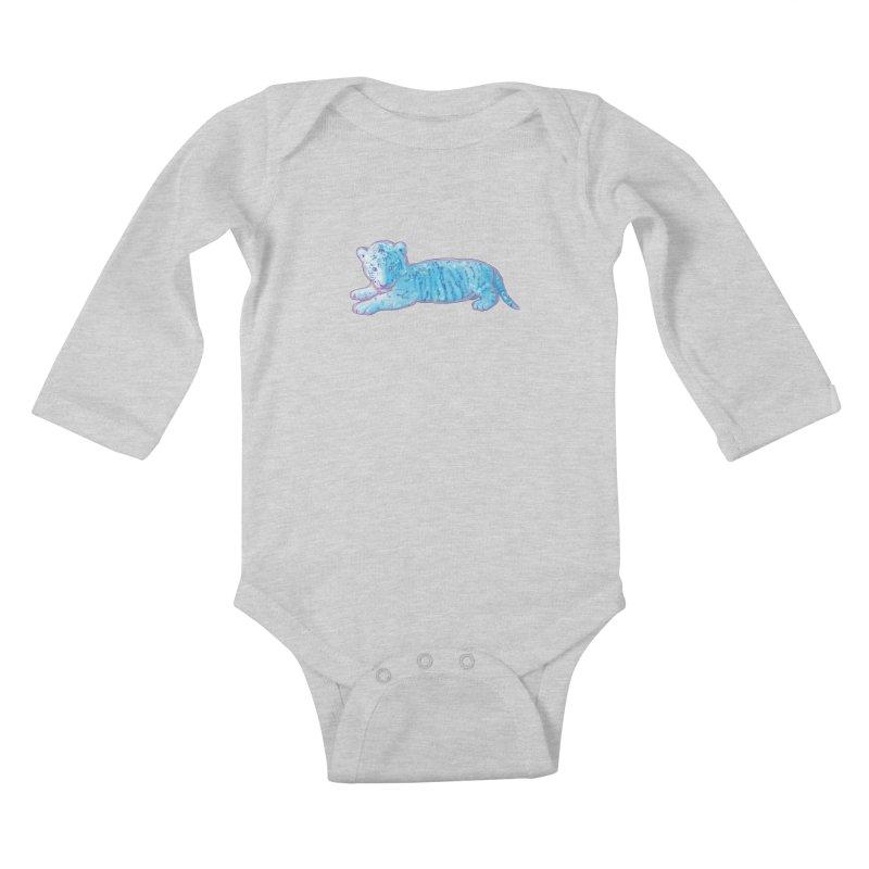 Little Blue Tiger Cub Kids Baby Longsleeve Bodysuit by VanillaKirsty's Artist Shop