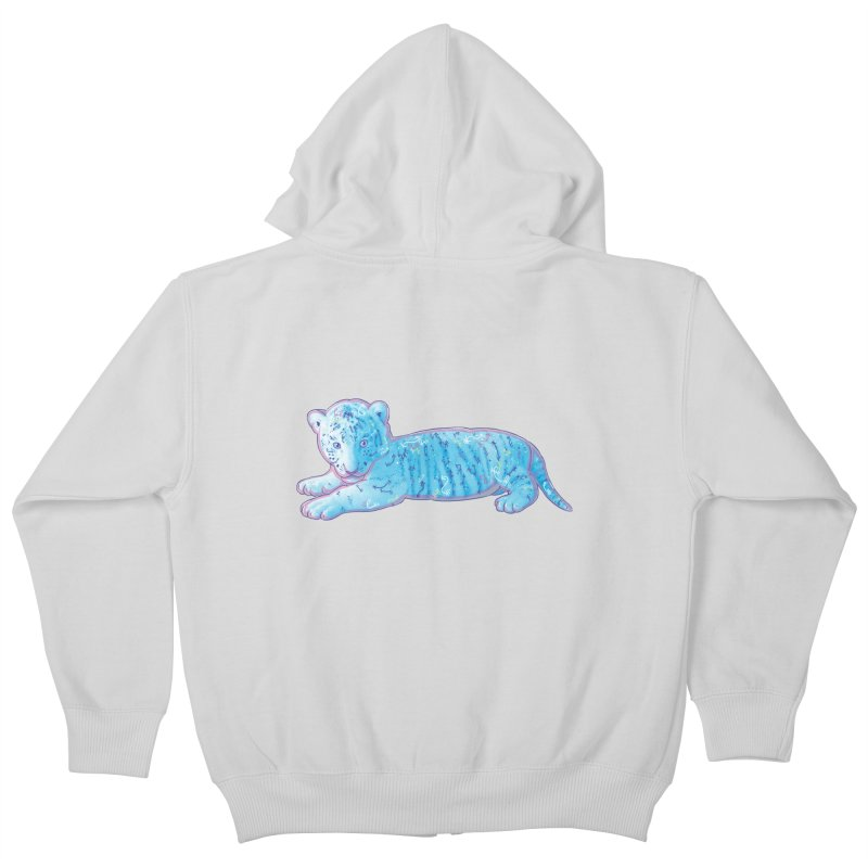Little Blue Tiger Cub Kids Zip-Up Hoody by VanillaKirsty's Artist Shop