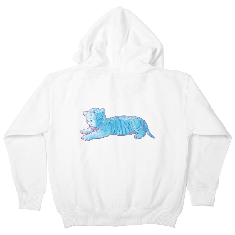 Little Blue Tiger Cub Kids Zip-Up Hoody by VanillaKirsty's Artist Shop