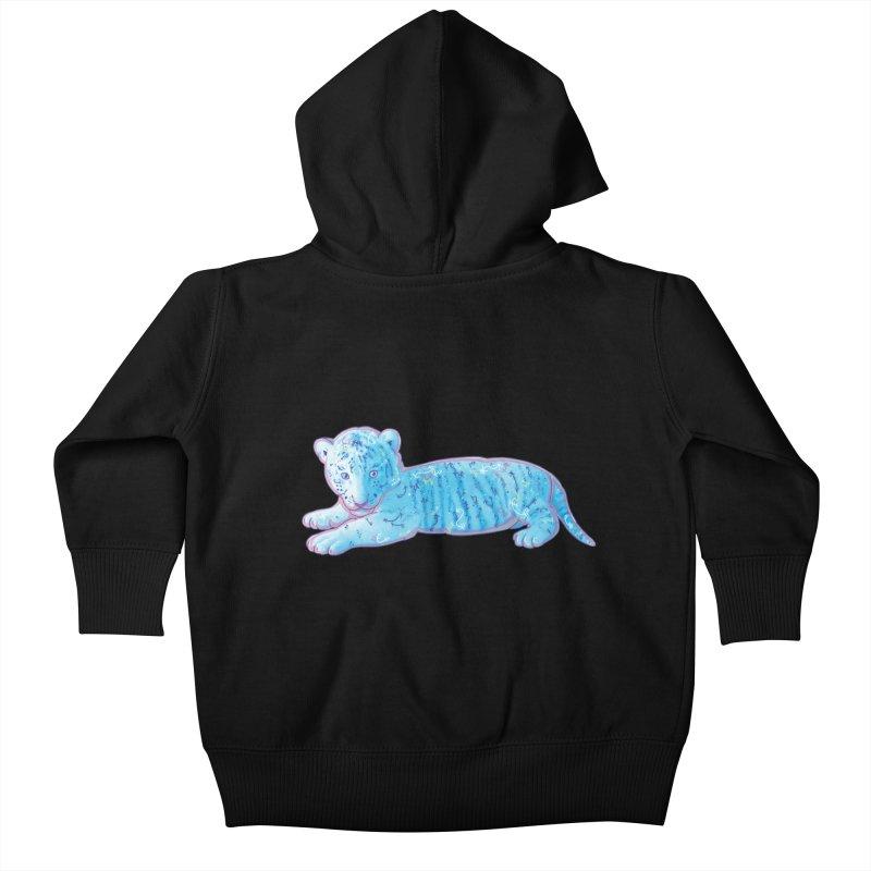Little Blue Tiger Cub Kids Baby Zip-Up Hoody by VanillaKirsty's Artist Shop