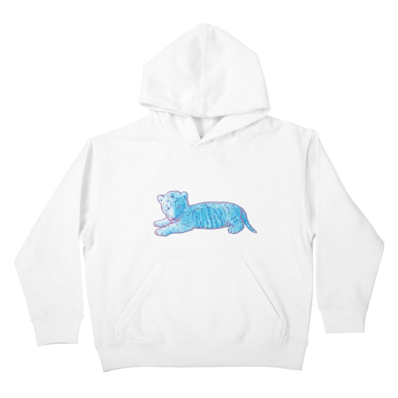 Little Blue Tiger Cub Kids Pullover Hoody by VanillaKirsty's Artist Shop
