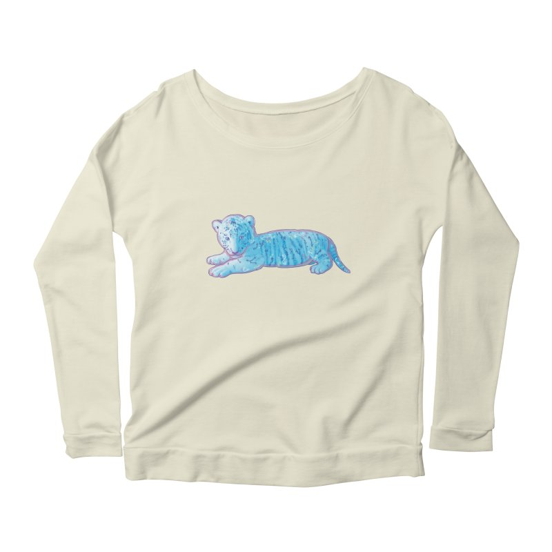 Little Blue Tiger Cub Women's Longsleeve Scoopneck  by VanillaKirsty's Artist Shop