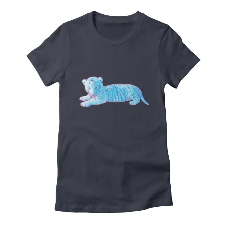 Little Blue Tiger Cub Women's Fitted T-Shirt by VanillaKirsty's Artist Shop