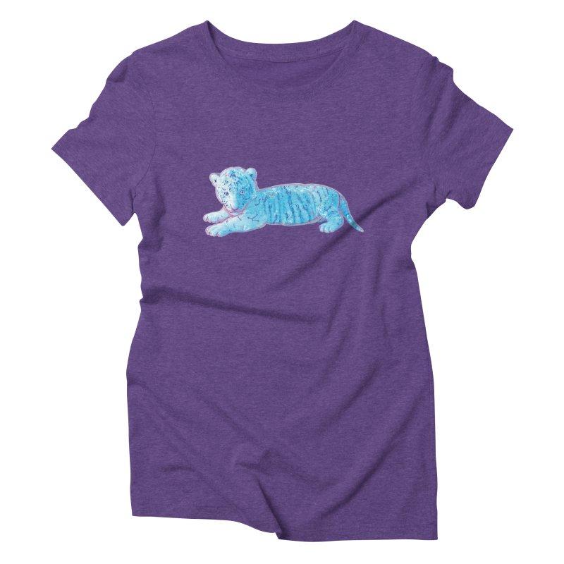 Little Blue Tiger Cub Women's Triblend T-Shirt by VanillaKirsty's Artist Shop