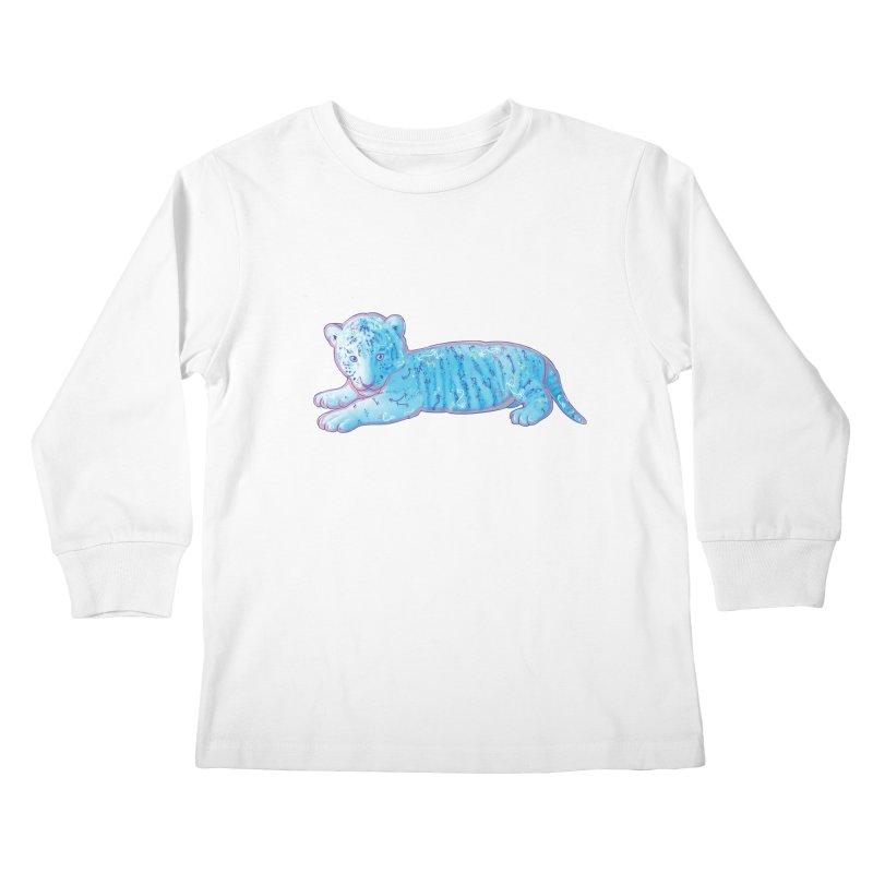 Little Blue Tiger Cub Kids Longsleeve T-Shirt by VanillaKirsty's Artist Shop