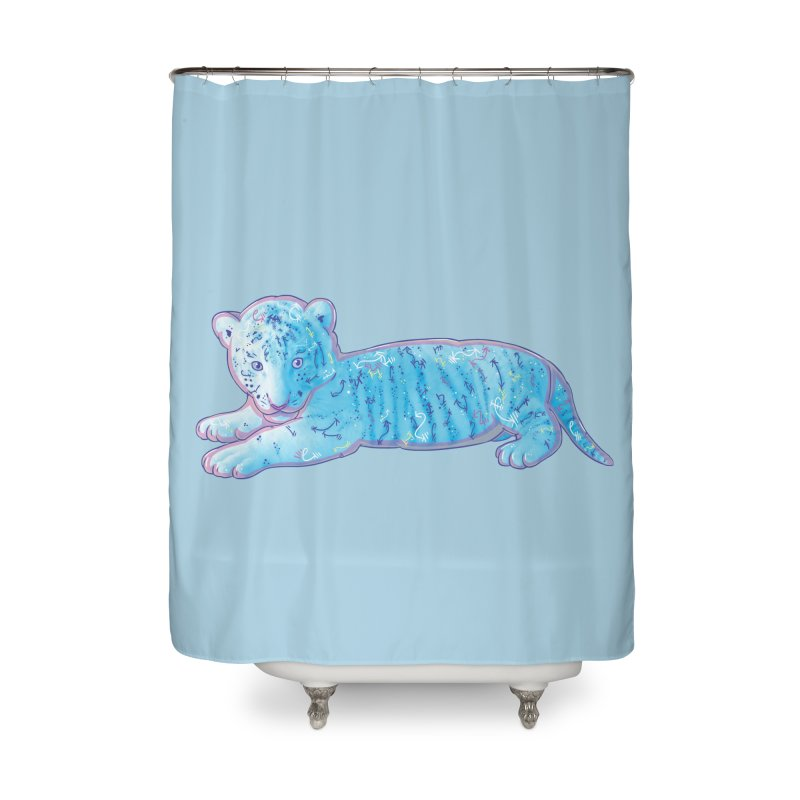 Little Blue Tiger Cub Home Shower Curtain by VanillaKirsty's Artist Shop
