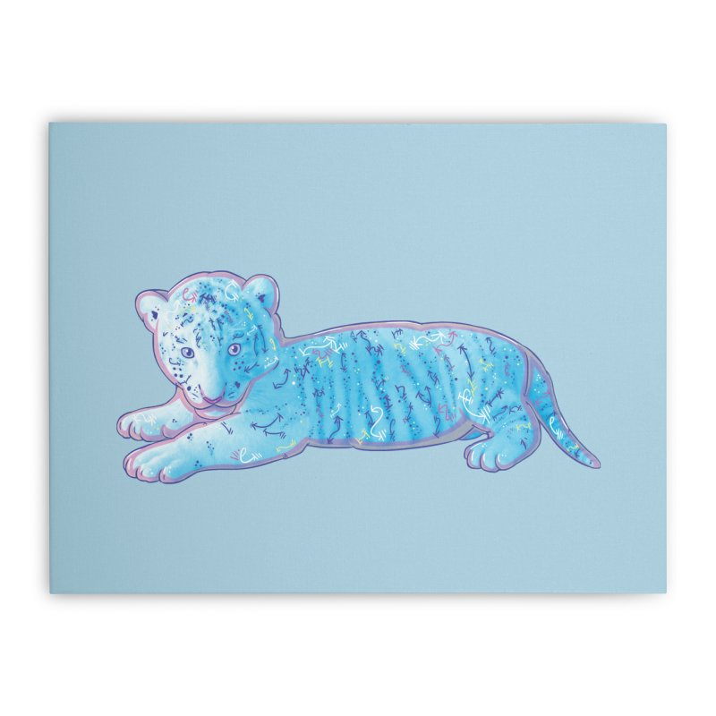 Little Blue Tiger Cub Home Stretched Canvas by VanillaKirsty's Artist Shop
