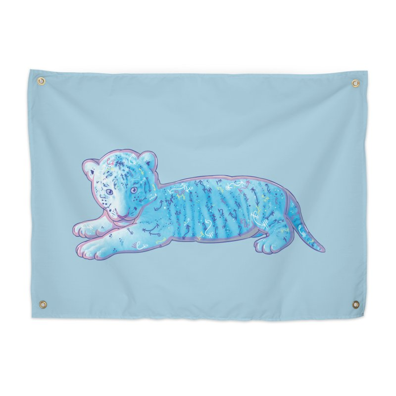 Little Blue Tiger Cub Home Tapestry by VanillaKirsty's Artist Shop