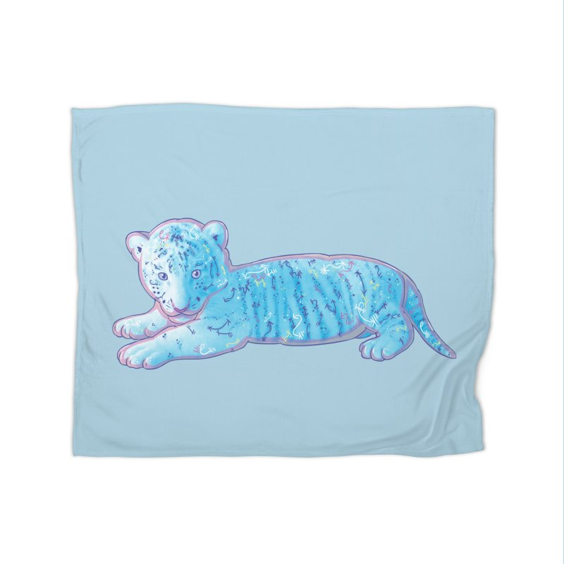 Little Blue Tiger Cub Home Blanket by VanillaKirsty's Artist Shop