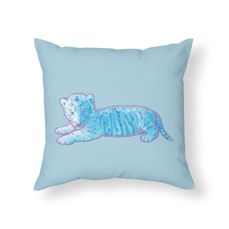 Little Blue Tiger Cub Home Throw Pillow by VanillaKirsty's Artist Shop