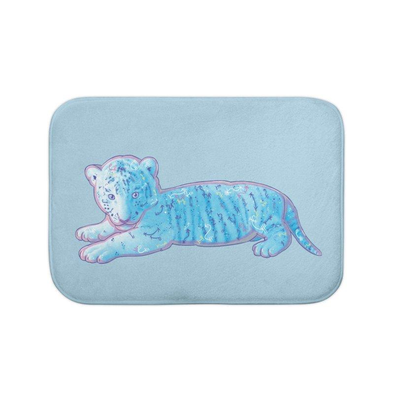 Little Blue Tiger Cub Home Bath Mat by VanillaKirsty's Artist Shop