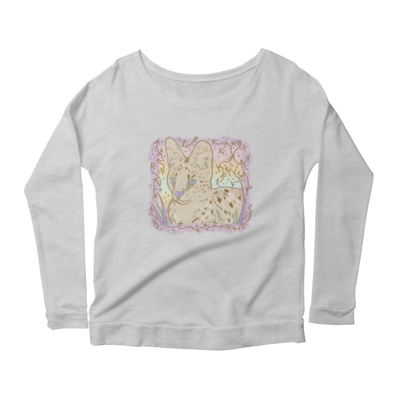 Little Serval Women's Longsleeve Scoopneck  by VanillaKirsty's Artist Shop
