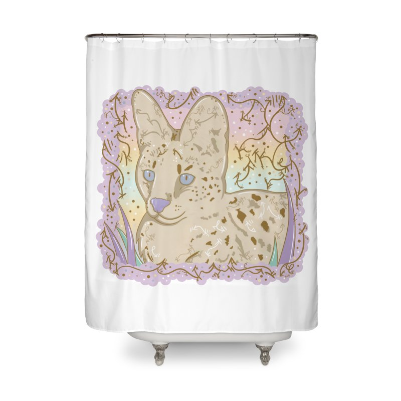 Little Serval Home Shower Curtain by VanillaKirsty's Artist Shop