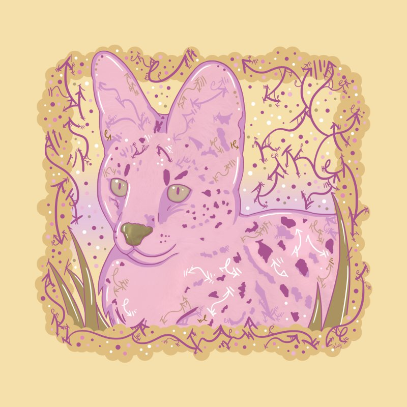 Little Serval (Gold and Pink) Accessories Zip Pouch by VanillaKirsty's Artist Shop