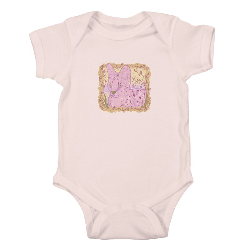 Little Serval (Gold and Pink) Kids Baby Bodysuit by VanillaKirsty's Artist Shop