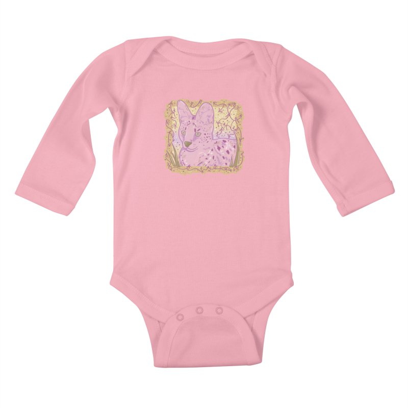 Little Serval (Gold and Pink) Kids Baby Longsleeve Bodysuit by VanillaKirsty's Artist Shop