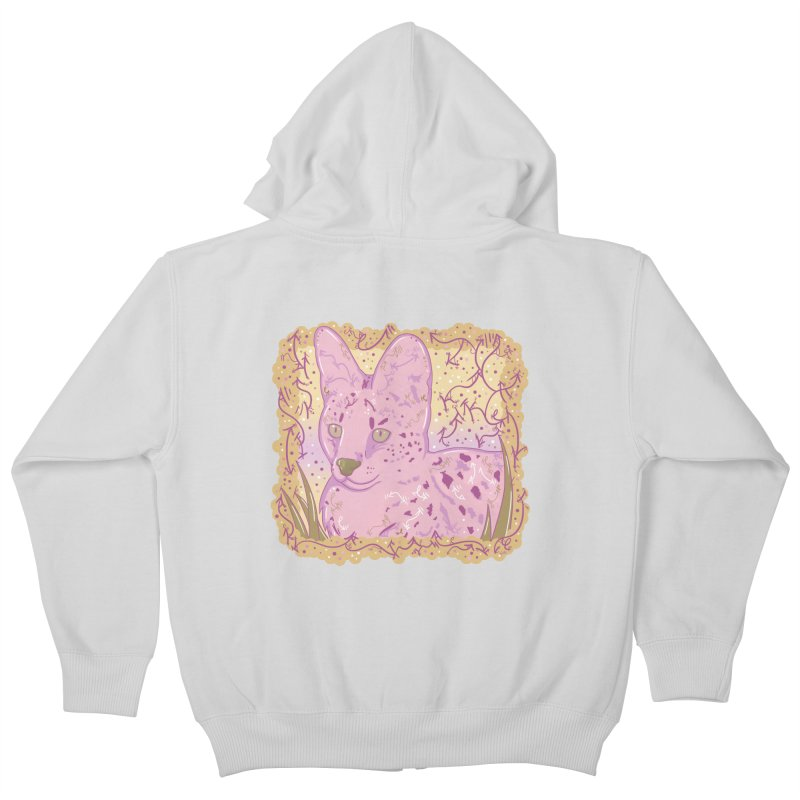 Little Serval (Gold and Pink) Kids Zip-Up Hoody by VanillaKirsty's Artist Shop