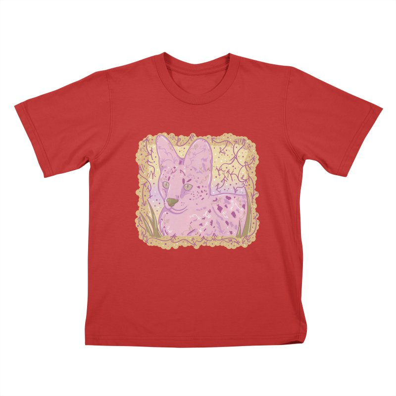 Little Serval (Gold and Pink) Kids T-Shirt by VanillaKirsty's Artist Shop