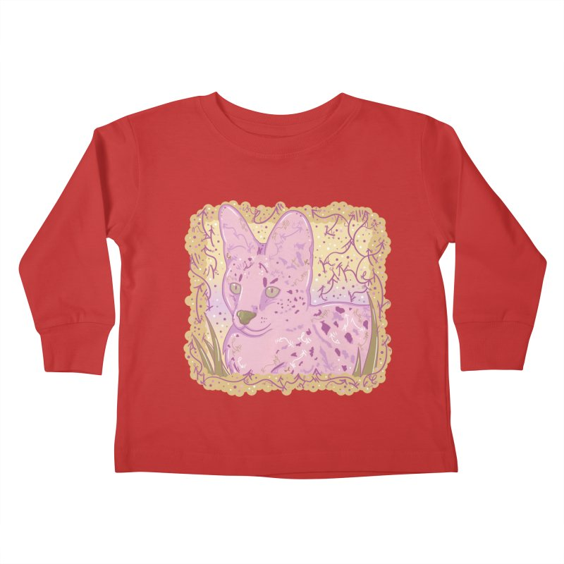 Little Serval (Gold and Pink) Kids Toddler Longsleeve T-Shirt by VanillaKirsty's Artist Shop