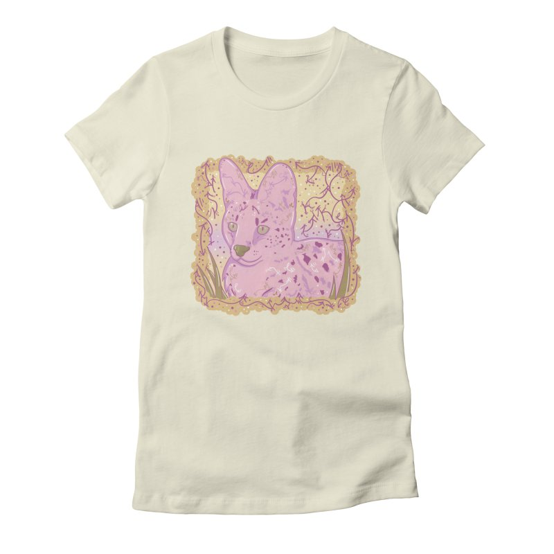 Little Serval (Gold and Pink) Women's Fitted T-Shirt by VanillaKirsty's Artist Shop