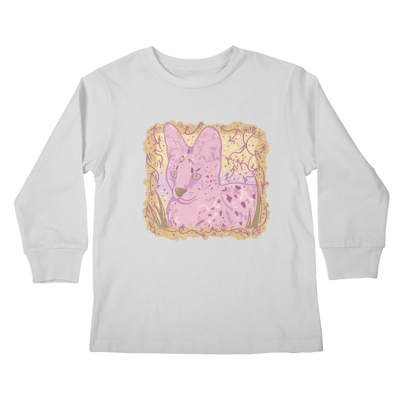 Little Serval (Gold and Pink) Kids Longsleeve T-Shirt by VanillaKirsty's Artist Shop