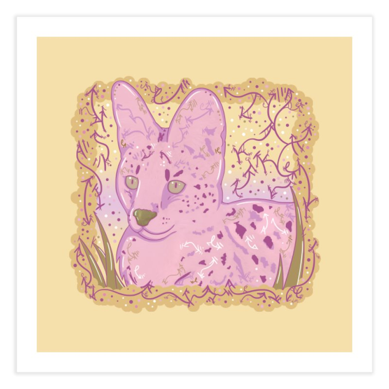 Little Serval (Gold and Pink) Home Fine Art Print by VanillaKirsty's Artist Shop