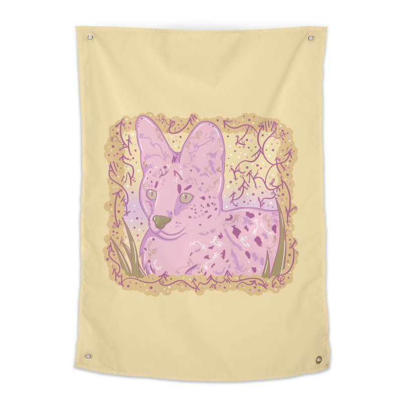 Little Serval (Gold and Pink) Home Tapestry by VanillaKirsty's Artist Shop