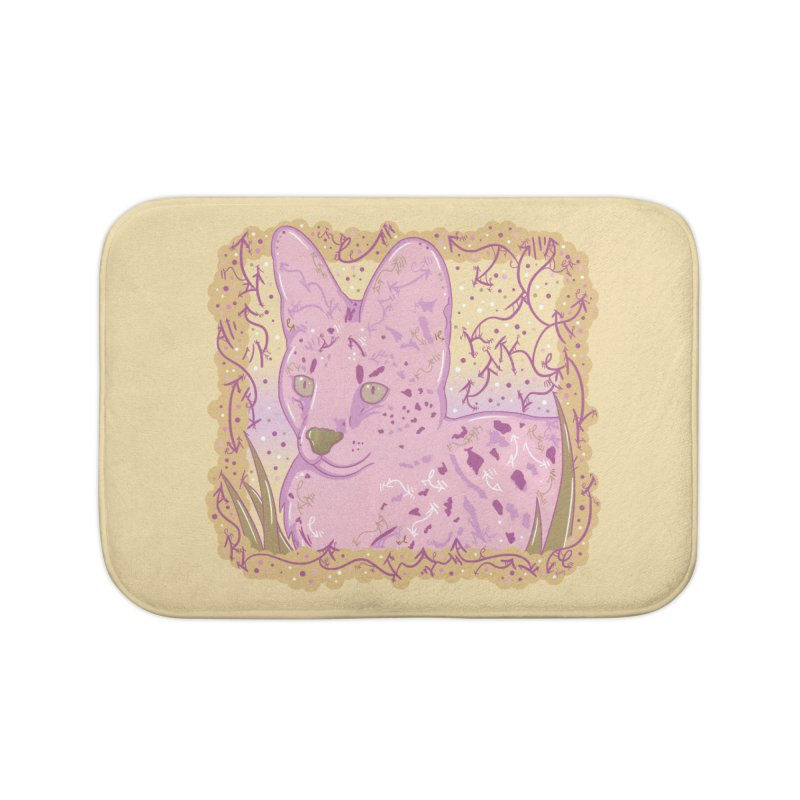 Little Serval (Gold and Pink) Home Bath Mat by VanillaKirsty's Artist Shop