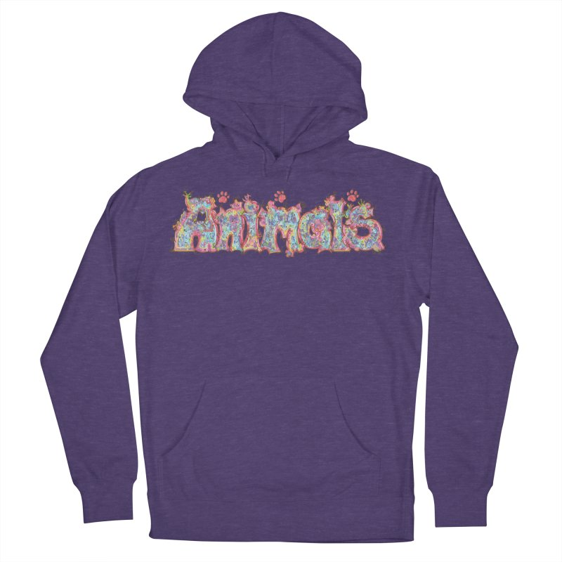 Kaleidoscopic Animals (Text) Men's Pullover Hoody by VanillaKirsty's Artist Shop
