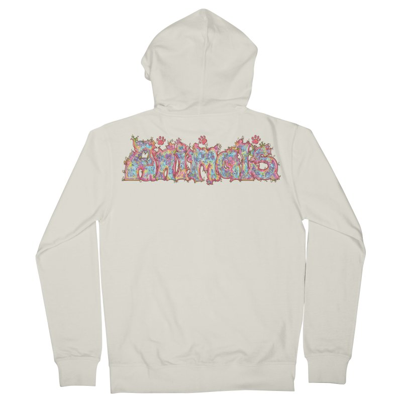 Kaleidoscopic Animals (Text) Men's Zip-Up Hoody by VanillaKirsty's Artist Shop