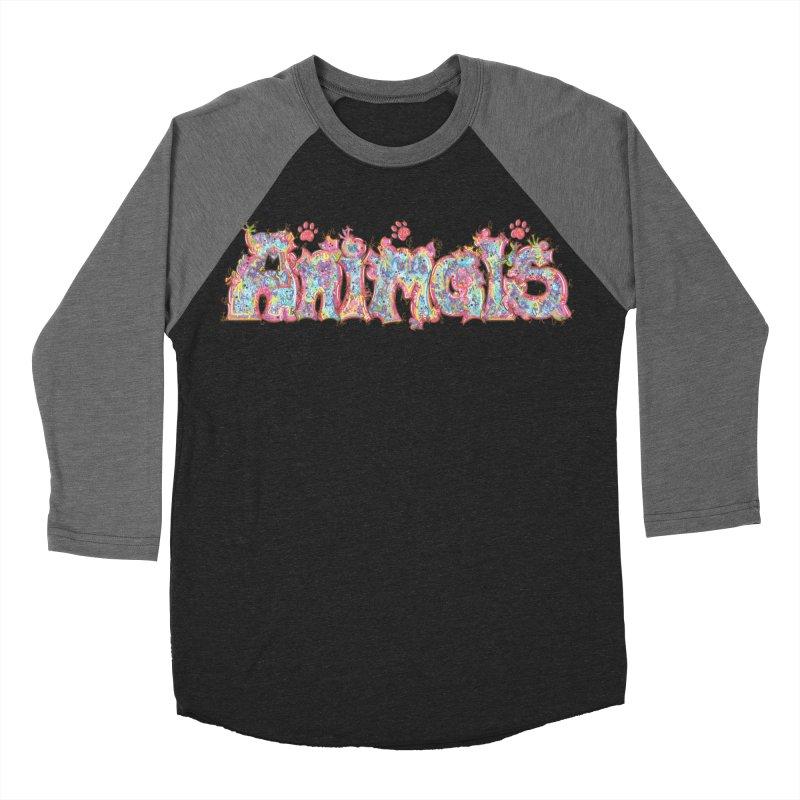 Kaleidoscopic Animals (Text) Men's Baseball Triblend T-Shirt by VanillaKirsty's Artist Shop
