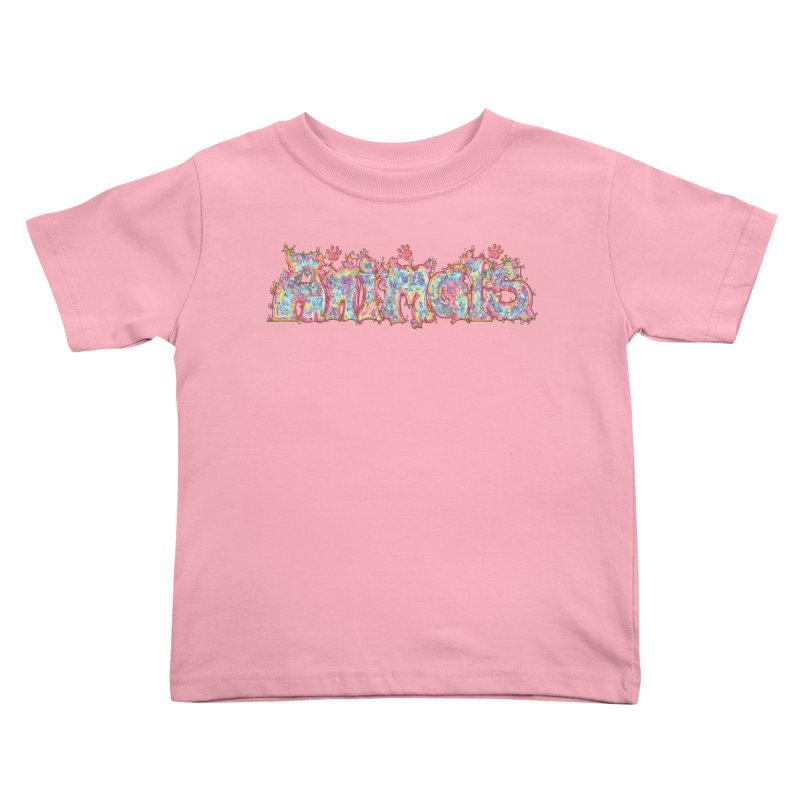 Kaleidoscopic Animals (Text) Kids Toddler T-Shirt by VanillaKirsty's Artist Shop