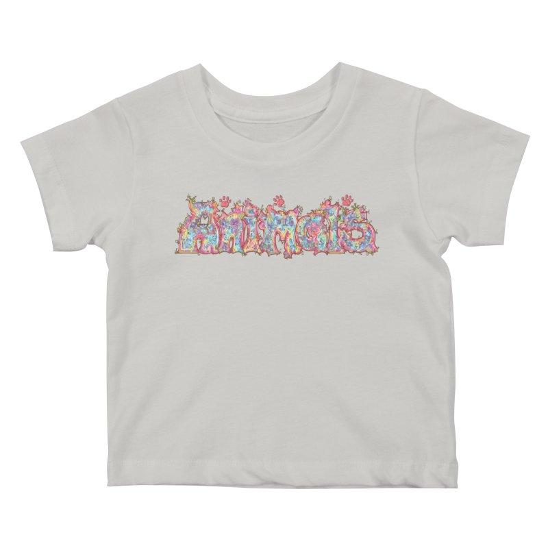 Kaleidoscopic Animals (Text) Kids Baby T-Shirt by VanillaKirsty's Artist Shop