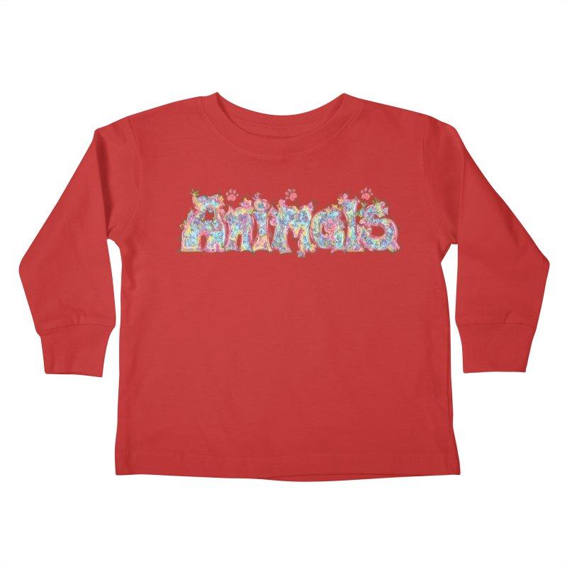 Kaleidoscopic Animals (Text) Kids Toddler Longsleeve T-Shirt by VanillaKirsty's Artist Shop