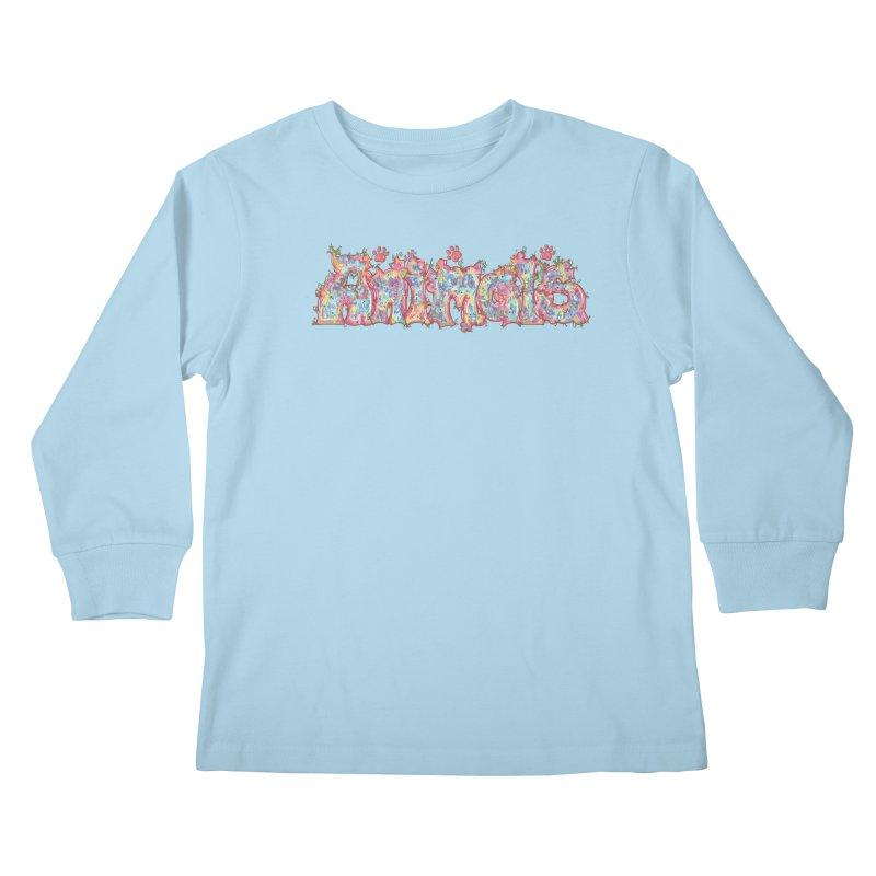 Kaleidoscopic Animals (Text) Kids Longsleeve T-Shirt by VanillaKirsty's Artist Shop