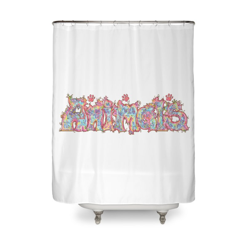 Kaleidoscopic Animals (Text) Home Shower Curtain by VanillaKirsty's Artist Shop