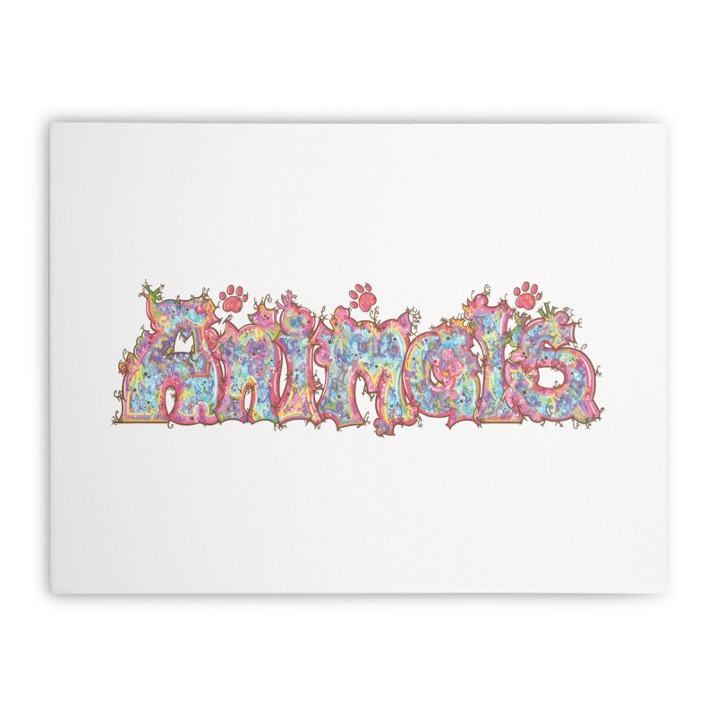 Kaleidoscopic Animals (Text) Home Stretched Canvas by VanillaKirsty's Artist Shop