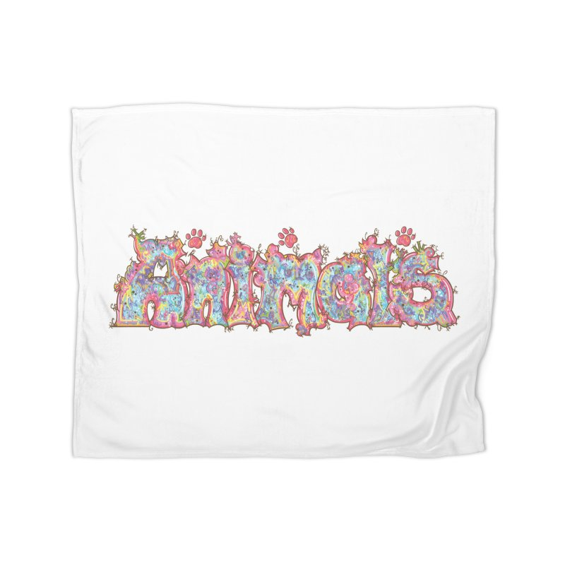 Kaleidoscopic Animals (Text) Home Blanket by VanillaKirsty's Artist Shop