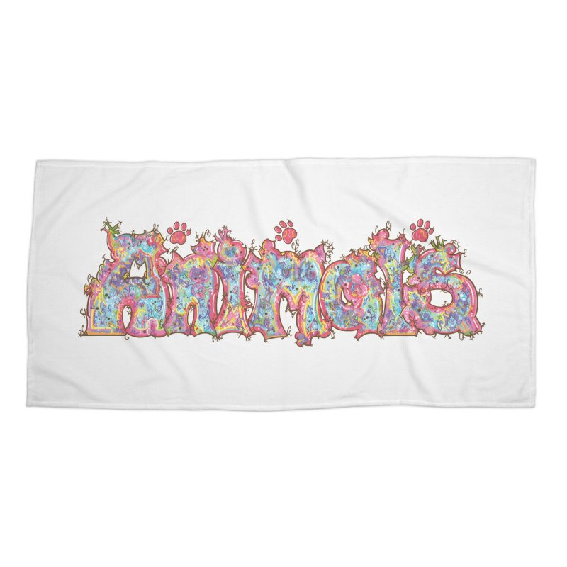 Kaleidoscopic Animals (Text) Accessories Beach Towel by VanillaKirsty's Artist Shop
