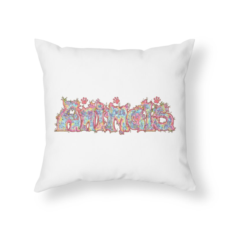 Kaleidoscopic Animals (Text) Home Throw Pillow by VanillaKirsty's Artist Shop
