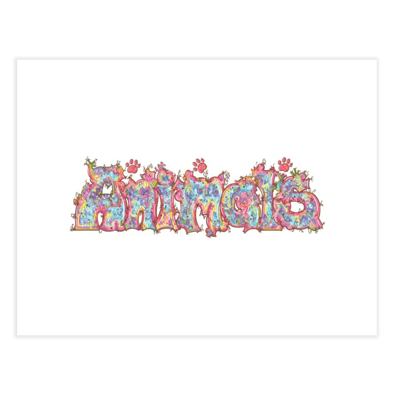 Kaleidoscopic Animals (Text) Home Fine Art Print by VanillaKirsty's Artist Shop